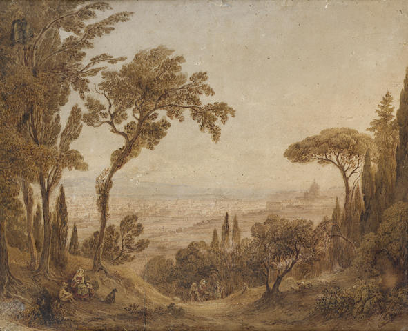 Rudolph Müller (Swiss, 1802-1885) Rome from the Monte Mario 31.7 x 38.2 cm. (12 1/2 x 15 in.)