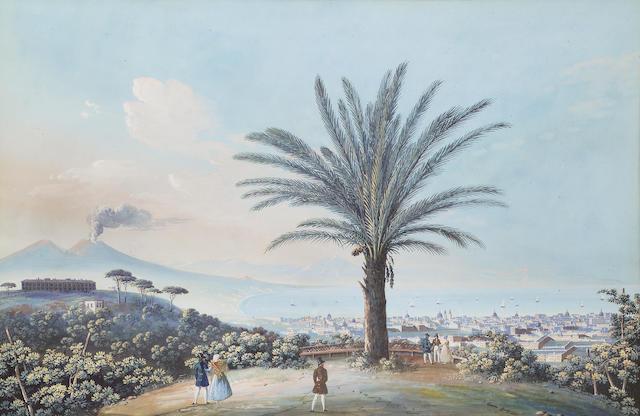 Giuseppe Gustavo Scoppa (Italian, mid 19th century) Vedute de Napoli da Capodimonte 43.1 x 64.7 cm. (17 x 25 1/2 in.)