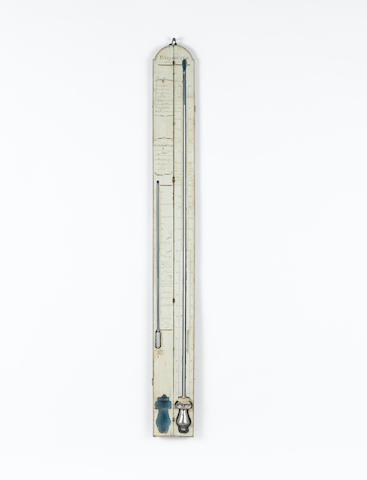 A rare late 18th century French painted travelling stick barometer