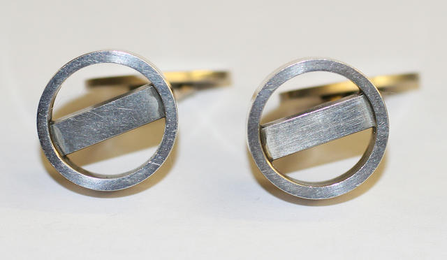 A pair of Georg Jensen cufflinks Numbered 91, with stamped marks,