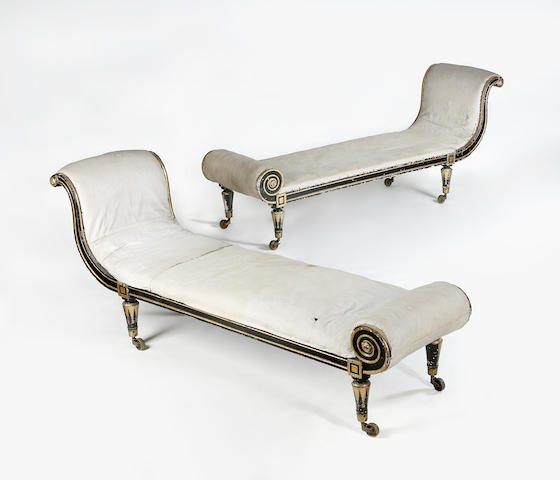 A pair of Regency gilt and ebonised day beds