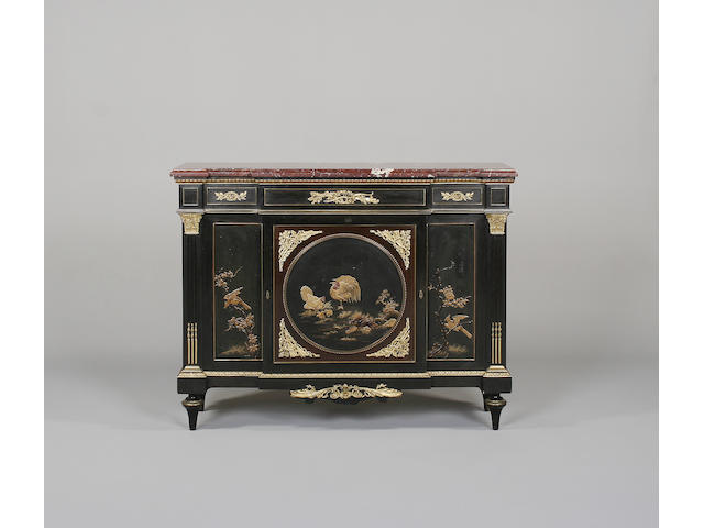 An early 20th century rosewood, ebonised, gilt metal mounted and lacquered commode à vantaux made by Paul Sormani