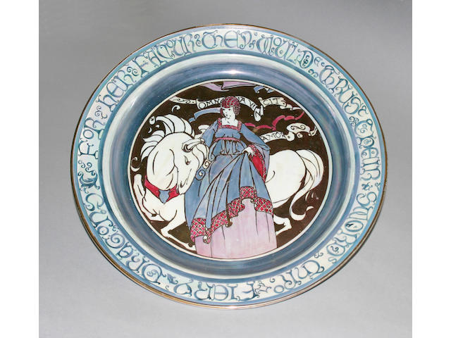 A Gray's Pottery 'Gloria Lustre' charger designed by Susie Cooper