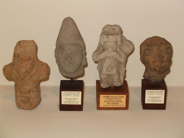 4 pieces pre Colombian art to incl. 2 heads,statue & parrot whistle