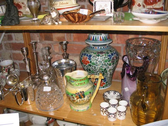 Four silver plated candlesticks and a mixed collection of china