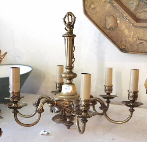 A 20th century brass six-light ceiling pendant