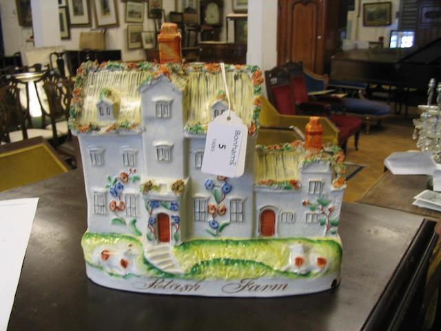 A good Victorian Staffordshire pottery cottage chimney ornament 'Potash Farm'