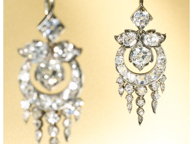 A pair of late 19th century  diamond pendent earrings,