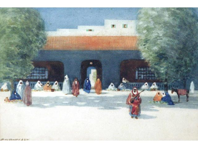 Hans Jacob Hansen RSW (1853-1947) Courtyard in Morocco, together with another two (one desert and one street scene) (3)
