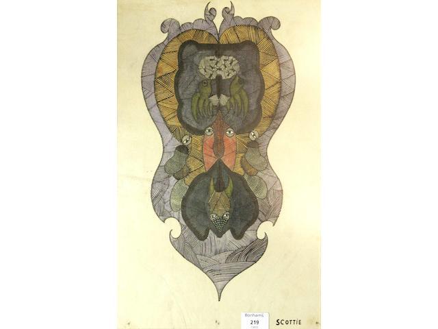 Scottie Wilson RSA RSW (1889-1972) 44.5 x 28.5cm