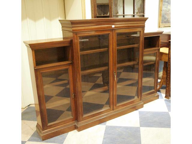 A late 19th century mahogany breakfront bookcase
