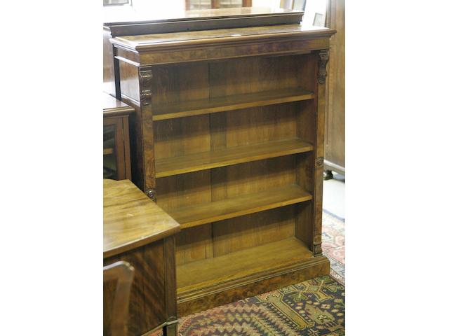 A Victorian walnut and burr walnut dwarf open bookcase