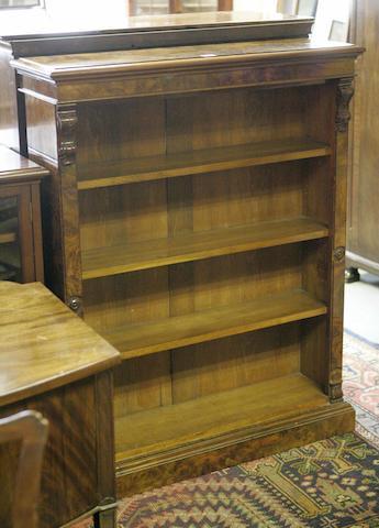 A Victorian walnut and burr walnut dwarf open bookcase