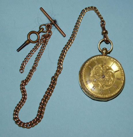 A late Victorian gold open face pocket watch,