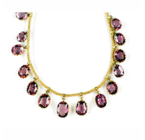A Victorian almandine garnet fringe necklace