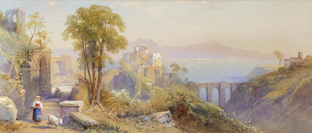 Thomas Charles Leeson Rowbotham R.W.S. (British, 1823-1875) Lake Como; Near Sicily, a pair 20.3 x 46.4 cm. (8 x 18 1/4 in.)