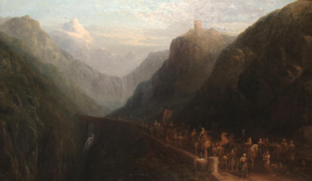 Sydney Herbert (British, 1854-1914) 'Alexander the Great Crossing the Alps'.