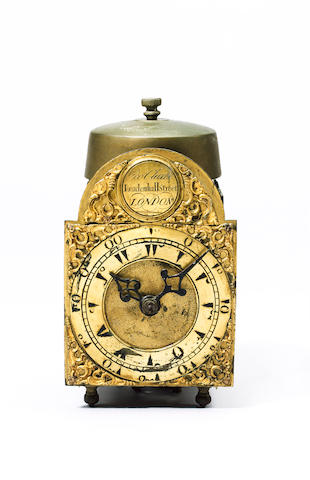 A rare mid 18th century miniature lantern clock made for the Turkish market George Clarke, Leadenhall Street, London