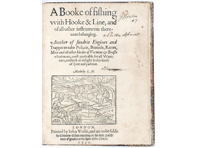 MASCALL (LEONARD) A Booke of Fishing with Hooke & Line, and of all other Instruments thereunto belonging, part 1 only (of 2)