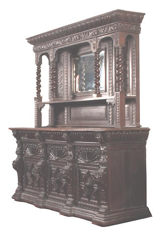 A late Victorian carved oak sideboard