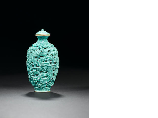 A turquoise-glazed moulded and reticulated porcelain snuff bottle and stopper 1790-1840