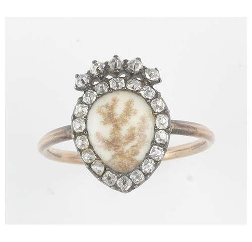 A diamond set mourning ring