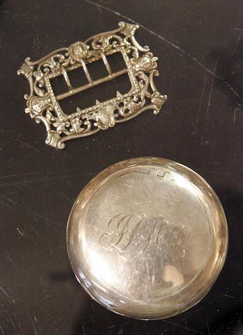 A circular silver snuff box Hilliard & Thomason, Birmingham 1904
