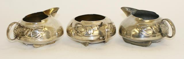 A Liberty & Co. 'Tudric' polished pewter milk jug