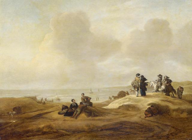 Jacob Esselens (Amsterdam 1626-1687) Fisherfolk and elegant figures 46.5 x 62 cm. (18 1/3 x 24¼ in.)