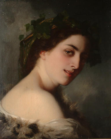 Charles-Zacharie Landelle (French, 1812-1908) A beautiful young woman wearing a fur wrap with ivy in her hair.