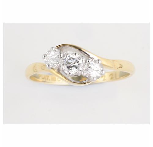 A three stone diamond ring, (2)
