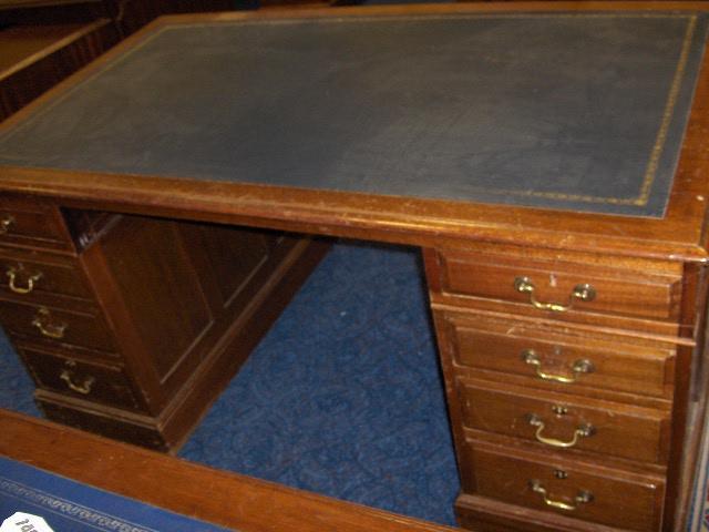 A George III style mahogany pedestal desk