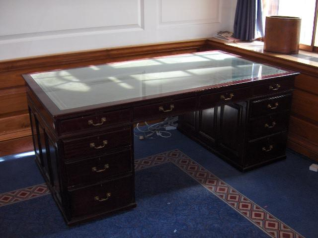 A Regency style mahogany partners desk