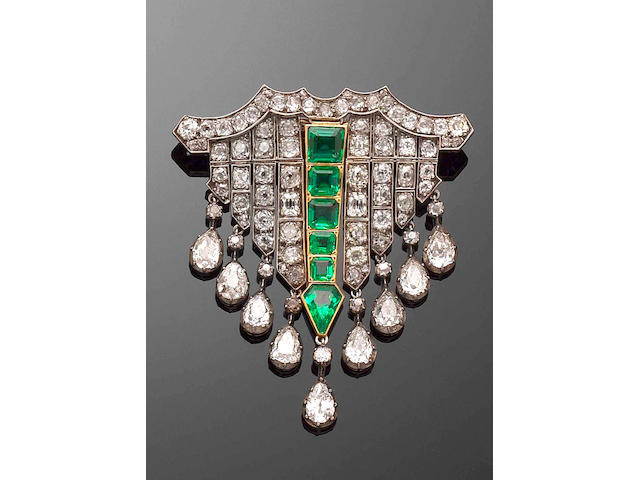An elegant early Victorian emerald and diamond brooch