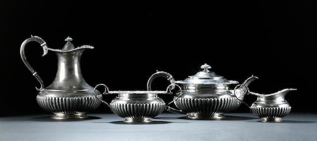 An Edwardian four piece tea service by James Deakin & Sons Sheffield 1905,