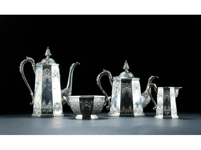 A four piece Victorian tea and coffee service by Robert Hennell, 1854