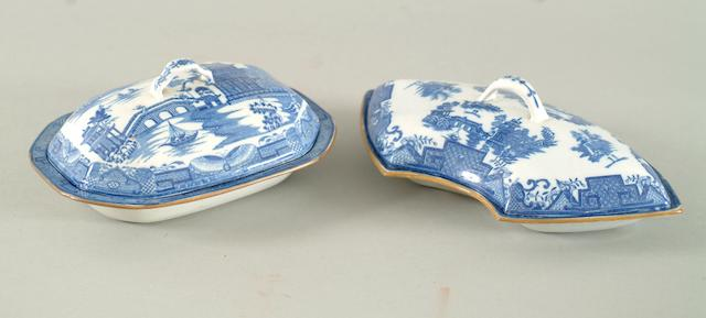 Two Cambrian 'Long Bridge' dishes and covers, circa 1800,