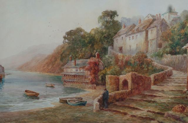 Thomas Mortimer (19th/20th Century) 'A view of Clovelly harbour from the foreshore' 32 x 49cm