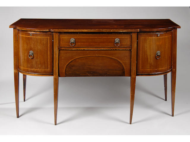 A George III style mahogany and satinwood banded sideboard