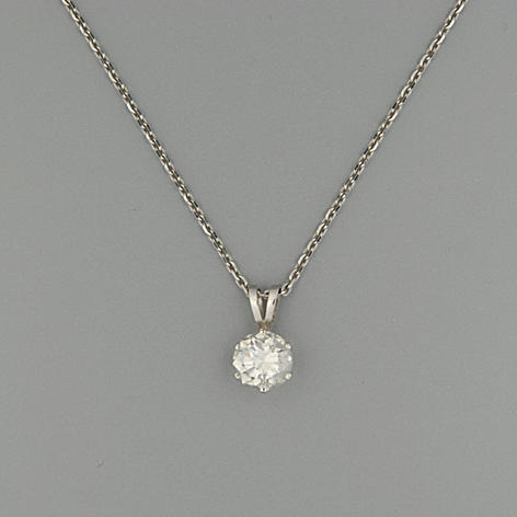 A diamond single-stone pendant, (2)
