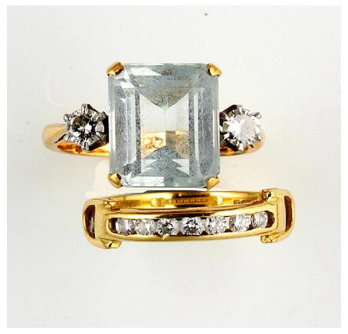 An aquamarine and diamond ring, (2)