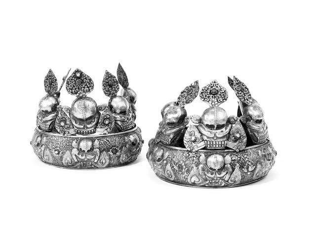 A pair of Tibetan silver Ritual Crowns 20th Century(2)