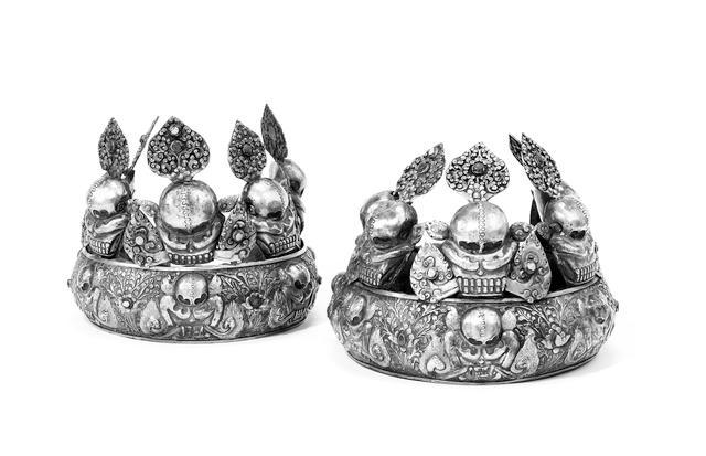 A pair of Tibetan silver Ritual Crowns 20th Century(2)