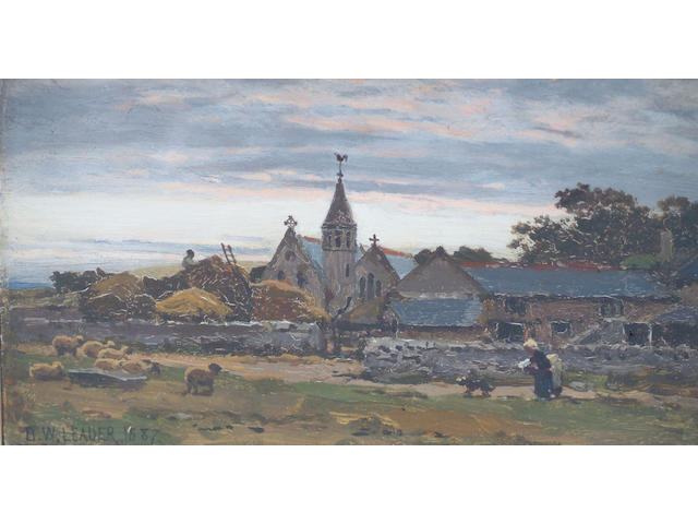 Benjamin Williams Leader, RA (1831-1923) 'Llandulas Church, N Wales' 14.5 x 24.5cm