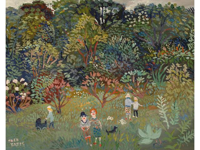 Fred Yates (British, b.1922) Figures in an Orchard.