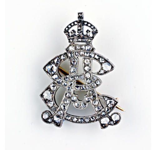 Royal interest: An early 20th century diamond Royal cypher brooch,