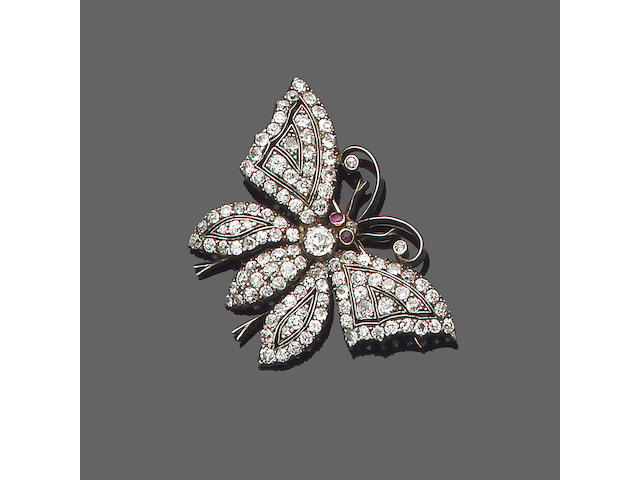 A late 19th century ruby and diamond butterfly brooch,
