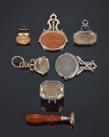 A family collection of late 18th and 19th century table and fob seals,