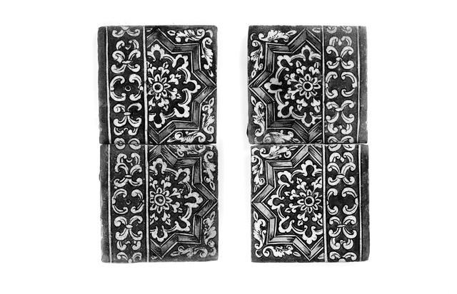 Four Qajar pottery Tiles Persia, late 19th Century(4)
