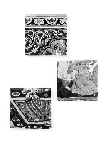Three cuerda seca pottery Tiles Persia, 19th Century and earlier(3)